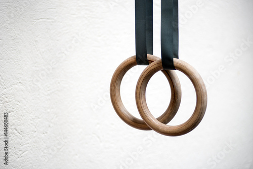 Detail of a set of rings in a gymnasium
