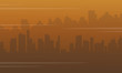 Silhouette of city with fog bad environment
