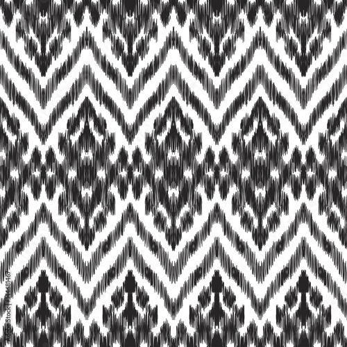 In de dag Boho Stijl Vector illustration of the black and white colored ikat ornamental seamless pattern. Scribble texture. Design in ethic style.
