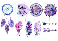 Set Of Watercolor Boho Style E...