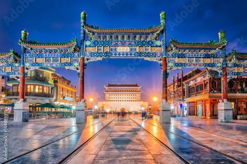Tuinposter Peking Beijing Zhengyang Gate Jianlou in Qianmen street in Beijing city, China