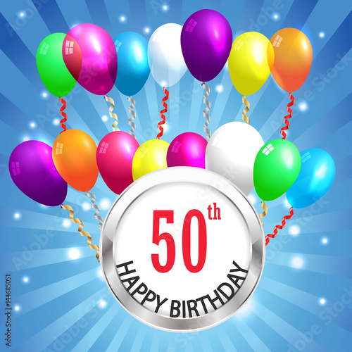 50th Birthday Background 50 Years Celebration Invitation Card