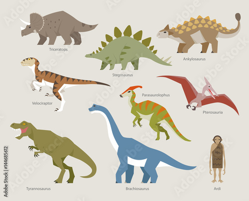 dinosaur flat design side pose illustration set