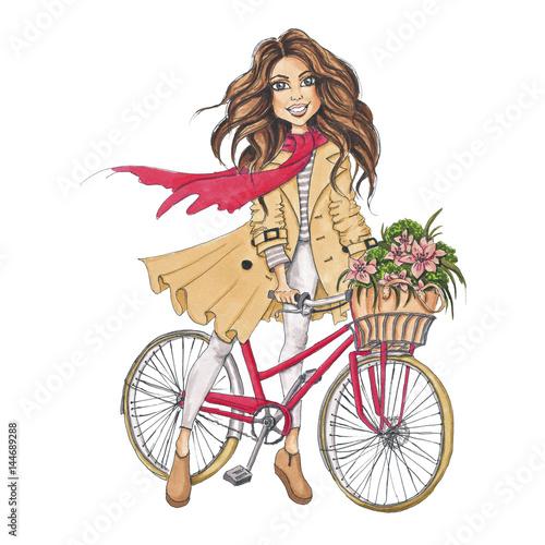 In de dag Illustratie Parijs Girl On Bycicle Hand-Painted Spring Floral Illustration