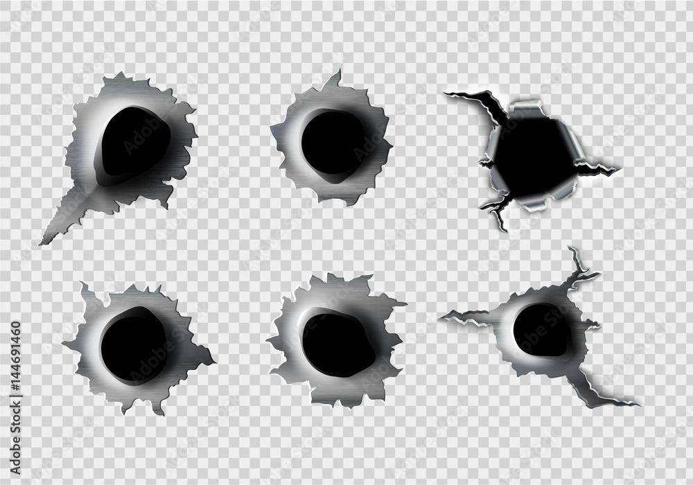 Photo  ragged hole in metal from bullets on White transparent