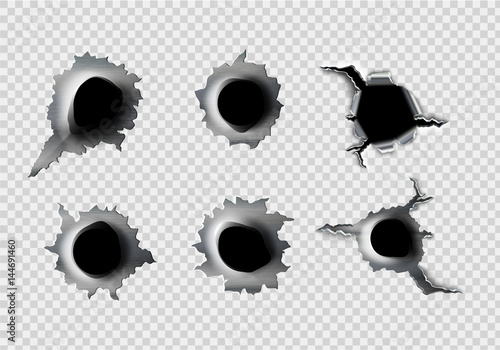 ragged hole in metal from bullets on White transparent Canvas Print