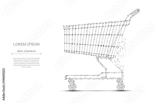 Stampa su Tela Abstract mash line and point shopping cart on white background with an inscription