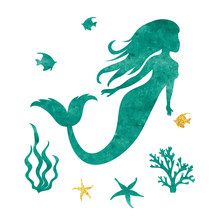 Watercolor Mermaid Silhouette....