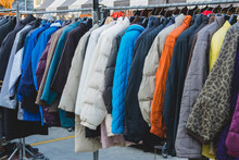 Various Style Winter Cloth On Rack In Winter Shop
