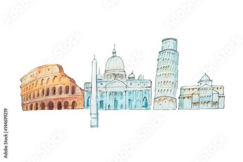 Famous Italian landmarks travel and tourism waercolor illustration Canvas Print
