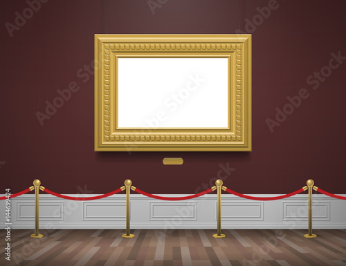 Fotografie, Obraz  classic museum gallery interior with golden frame and rope barrier