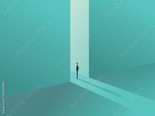 Businessman standing in a gate as a symbol of business opportunities, challenge, vision and future Poster