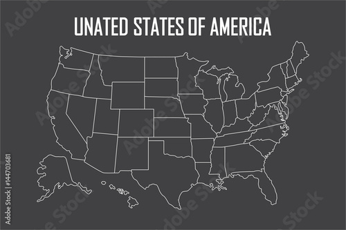 USA linear map with state boundaries. Blank white contour ...