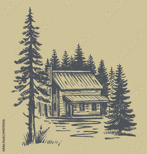 Fotomural mountain landscape vector with cabin