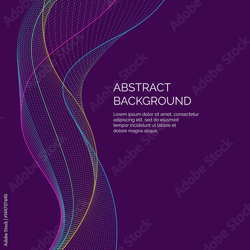 Photo  Vector abstract background with a dynamic waves and particles