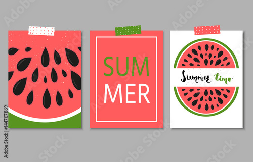 Staande foto Retro sign Collection of three bright summer postcard with hand drawn lette