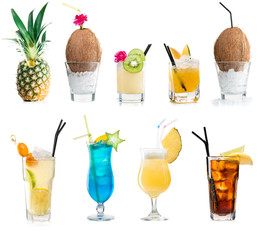 FototapetaSet of classic alcohol cocktails isolated on white background