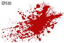 Blood Splatter, Vector Illustration. Red Splash On White Background.