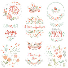 Mother's Day Set With Typograp...