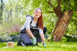 Young female gardener at work