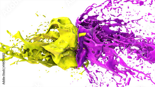 Fotografie, Obraz  Purple and yellow liquid collide, drops splatter fly to the sides on a white iso