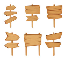 Signboard With Wood Texture. Vector Set Of Wooden Arrows And Empty Road Direction Signs