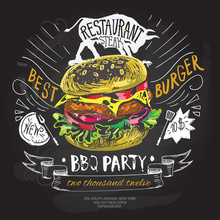 Fast Food Vector Logo Design Template. Hamburger, Burger Or Menu Board Icon.