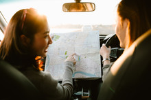 Lost With Map Two Young Asia Woman Friends In Car Enjoy Road Trip