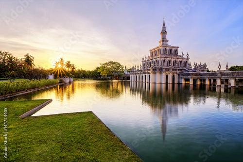 Fotografie, Obraz  SUKHOTHAI THAMMATHIRAT OPEN UNIVERSITY-APR 17 : Thai Architecture on Pond at Sukhothai Thammathirat Open University on APRIL, 2017 at Nonthaburi, Thailand