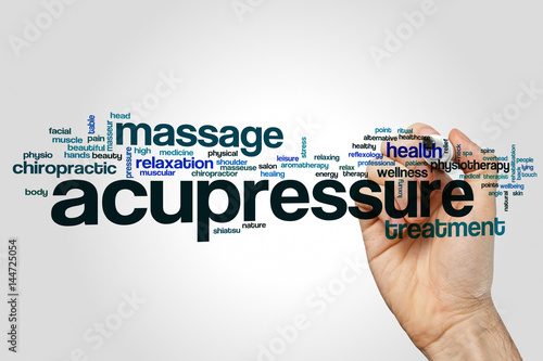Photo Acupressure word cloud concept on grey background