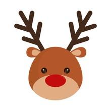 Rudolph Deer Cartoon Icon Over...
