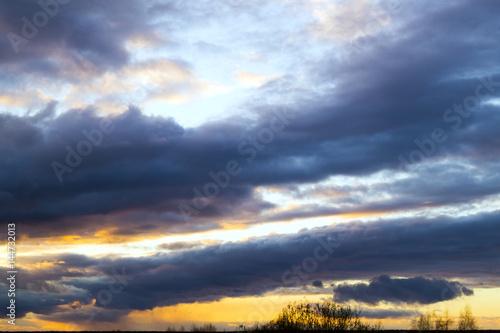 Fototapeta Sunset with beautiful blue sky and clouds obraz na płótnie