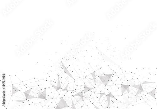 Plakat Streszczenie wielokąta z łączących kropek i linii. Tło nauki połączeń.