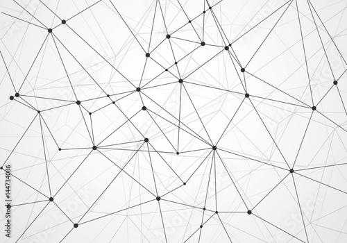 Plakat Streszczenie wielokąta z łączących kropek i linii