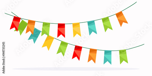 Fotografia  Colorful garland celebration detail with colored flags.