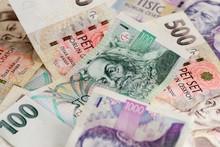 Many Czech Koruna Currency Bills