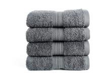 Gray Bath Towels On White Back...