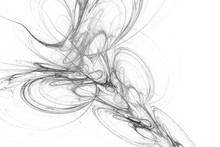 Abstract Swirly Lines On White Background. Fantasy Fractal Design In Black And White Colors. 3D Rendering.