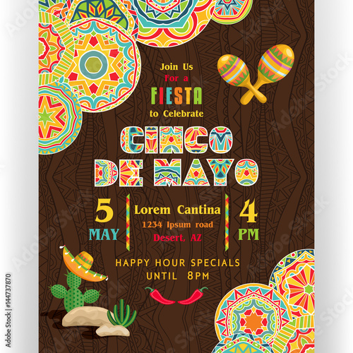 cinco de mayo poster template with text customized for invitation