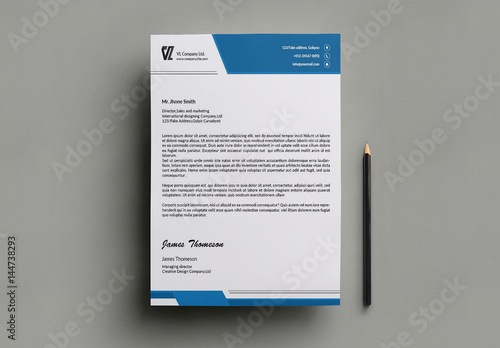 blue business letterhead template 1  buy this stock