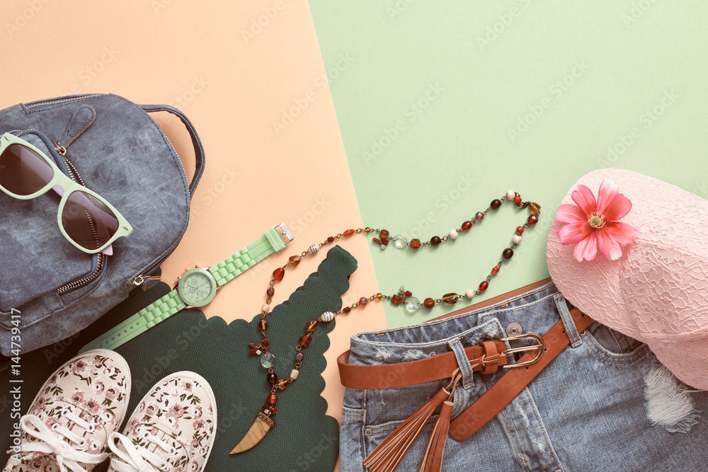 Plakát  Fashion Hipster Accessories. Stylish Urban Outfit