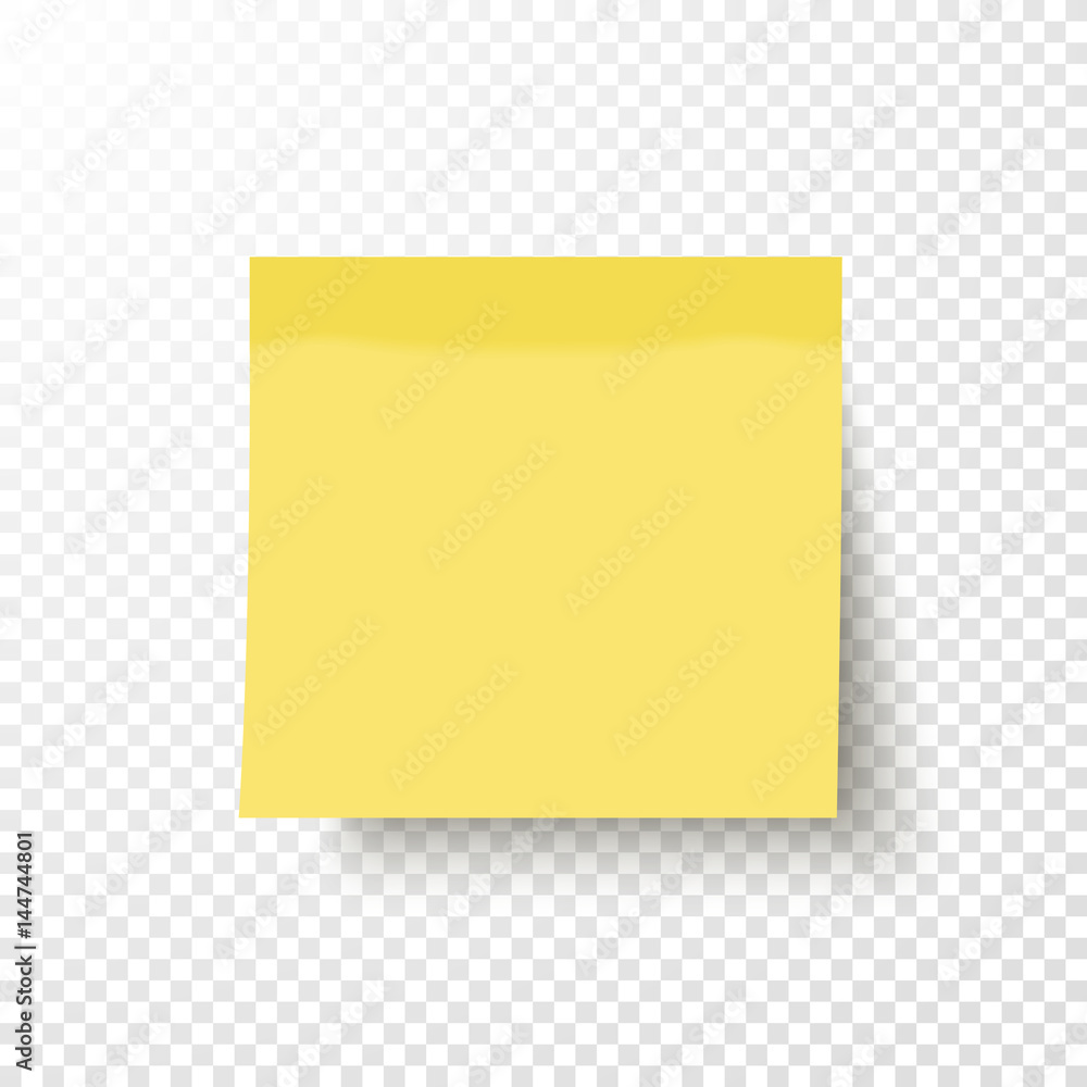 Fototapeta Yellow sticky note isolated on transparent background. Note post memo, label. Realistic template, mockup with shadow for your projects. Vector stock illustration.