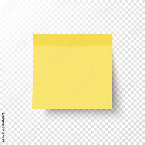 Obraz Yellow sticky note isolated on transparent background. Note post memo, label. Realistic template, mockup with shadow for your projects. Vector stock illustration.  - fototapety do salonu