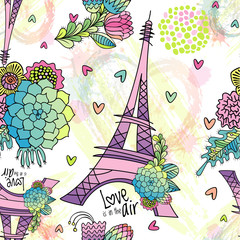 FototapetaAbstract seamless pattern with Eiffel tower, succulent, leaves and brush strokes. Love is in the air phrase.