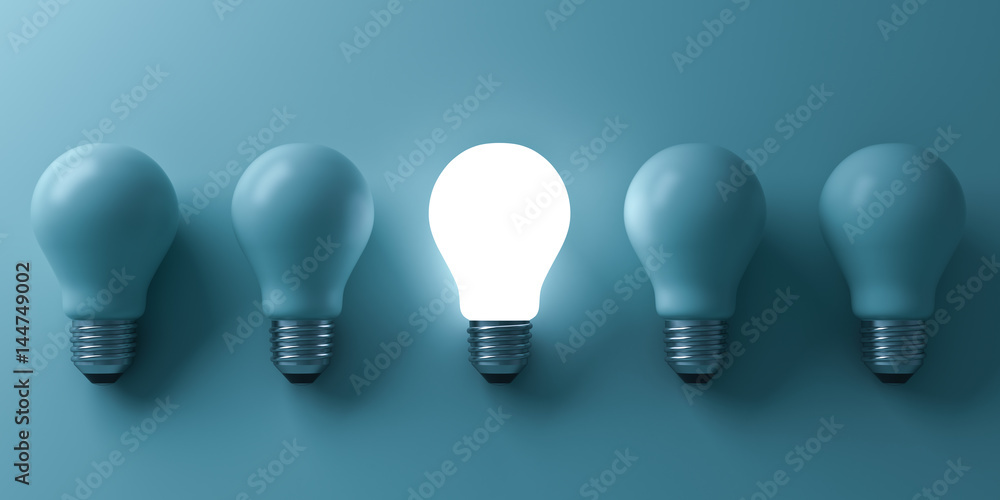 Fototapeta One glowing light bulb standing out from the unlit incandescent bulbs on green background with reflection and shadow , individuality and different business creative idea concepts . 3D rendering.