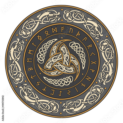 Triple Horn of Odin decorated with Scandinavian ornaments and runes Poster