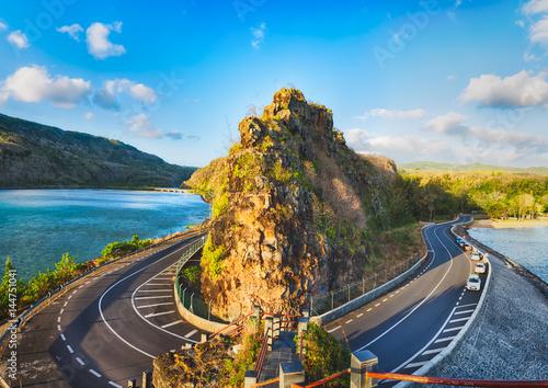 Poster Bleu nuit Maconde view point. Mauritius. Panorama