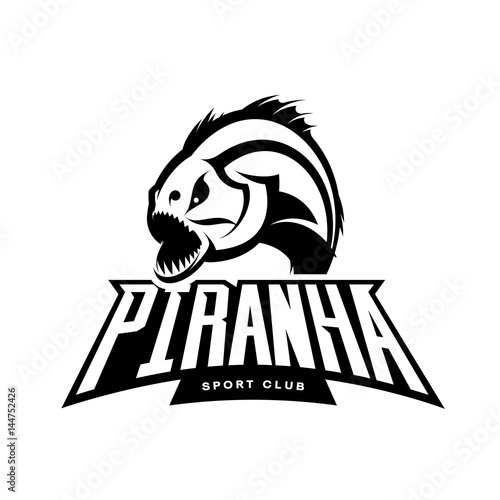 Valokuva Furious piranha sport vector mono logo concept isolated on white background