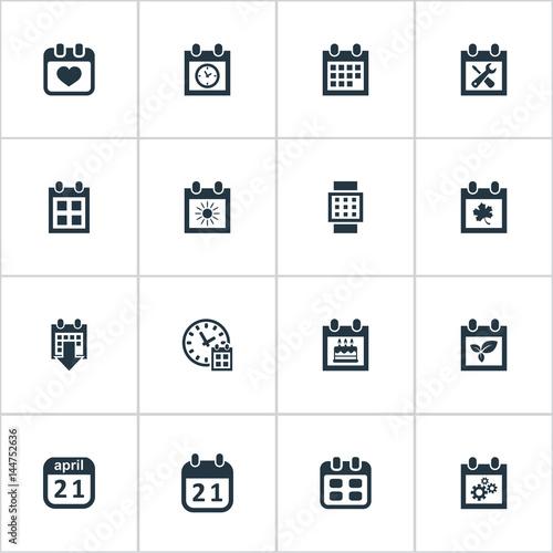vector illustration set of simple plan icons elements planner leaf