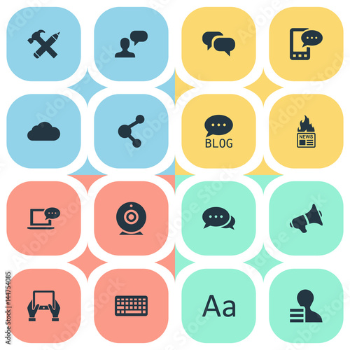 Photo  Vector Illustration Set Of Simple Blogging Icons